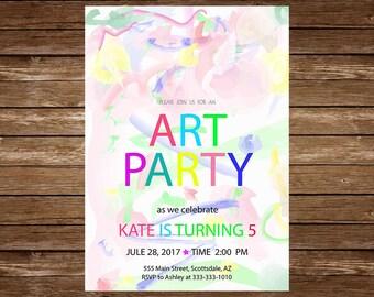 Art Party Invitation, Art Invitation, Art Birthday Party, Paint Party Invitation, Painting Party, Drawing Party, Art Themed Party, jpg 9