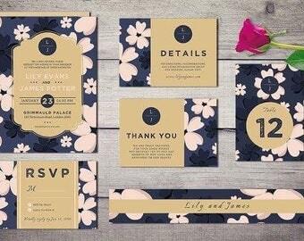 Vintage blossom wedding invitation suit
