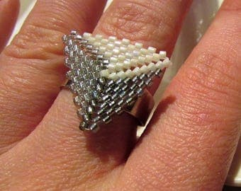 TRIANGLE Ring seed beads handmade