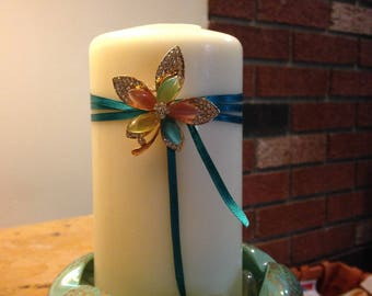 Custom Vintage Decorated Candle