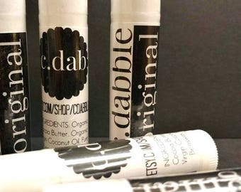 c.dabble Organic Lip Balm - Cocoa Butter - Beeswax - Natural Lip Care - Healthy Lip Care - Organic Virgin Coconut Oil - Soft Lips