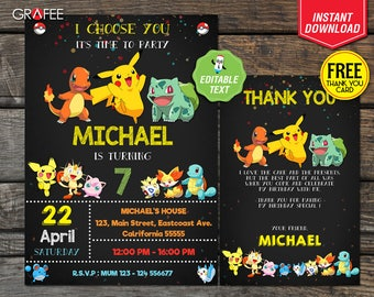 Pokemon Invitation 5x7, EDITABLE Text Pokemon Birthday, Pokemon Party, Pokemon Go, Pikachu, Printable - Customized FREE Thank you card