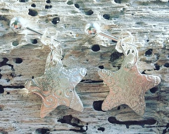 Sterling silver studs with textured fine silver drop back stars