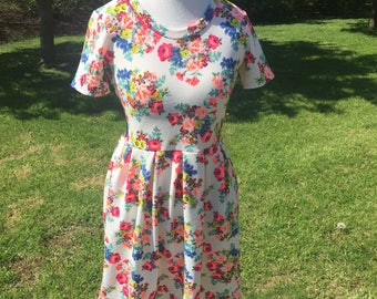 Medium White and Pink Floral Joy Dress