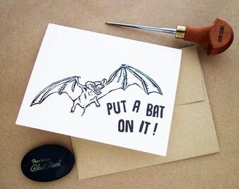 Linocut Greeting Card //  Funny Card // Austin Bats // Put a bird on it! // Bat Card