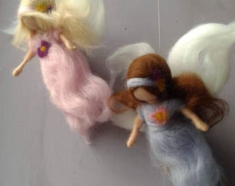 Guardian angels, wool doll, waldorf doll, doll of wool for children, mobile, art and decoration