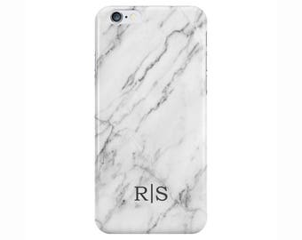 Personalised initials White Marble Phone Case Cover for Apple iPhone 5 6 6s 7 8 Plus & Samsung Galaxy Customized Monogram