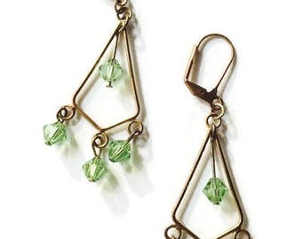 Vintage Chandelier Earrings Peridot Bronze Pierced