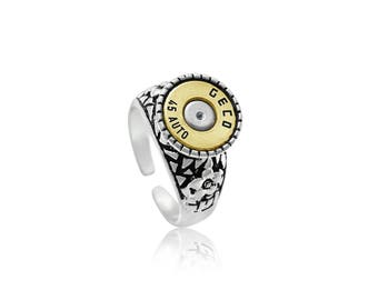 Adjustable ring    handmade with real bullet
