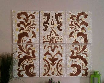 Damask Pattern Multiple Canvases - Large Handmade Wall Art
