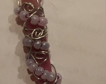 Rose quartz wrapped with wire and beads