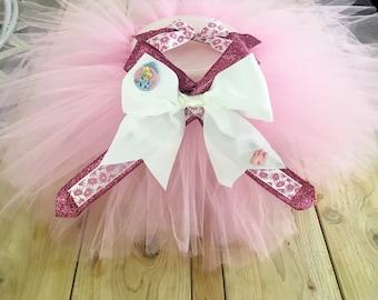 Cinderella princess tutu and bow set pink glitter crown