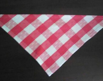 M Red and White Plaid Woven Cotton Bandana