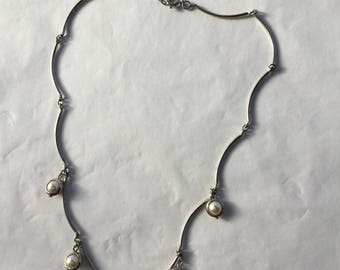 Silverplated Faux Pearl Drop Necklet