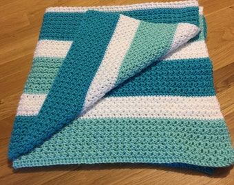 Blue and White Crochet Baby Blanket