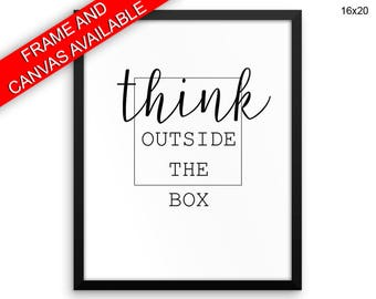 Think Canvas Art Think Printed Think Inspiring Art Think Inspiring Print Think Framed Art Think outside the box last minute gift be creative