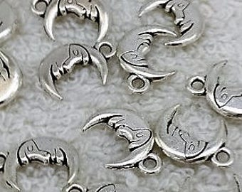 Wholesale, 5pcs, Silver Moon Charms, double sided Moon, Man on the Moon, Man in the Moon, Crescent Moon, DIY, Jewelry Supplies, 13mm, Moon