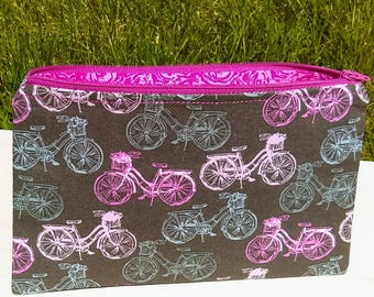 Bicycle print zipper pouch, Cosmetic bag, Purse organizer, Toiletry bag
