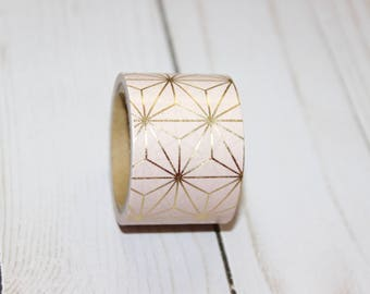 Light Pink Washi Tape with Gold Foil Geometric Design