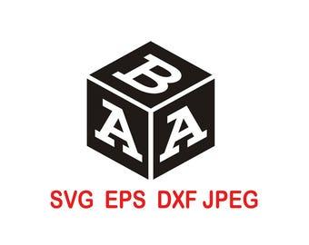 Cube  Solid Monogram.Font.Alphabet Letters.svg,eps,dxf,png.