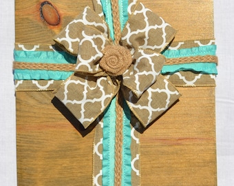 Burlap Cross on Wood