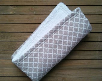Grey Lattice Burpie | Burp Cloth | Baby Blanket | One Piece | About 20in × 20in