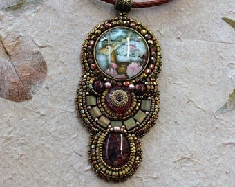 Deer with flowers pendant necklace.