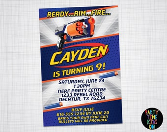 Nerf Invitation Birthday Party Nerf Gun Wars Strongarm Blaster Invite Battle Orange Blue Silver Card - (Evite) Digital File Supplied