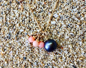 Black tahitian pearl and angelskin coral necklace with chain #49