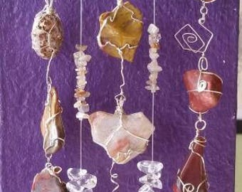 Agate and tumbled stone wire wrapped  suncatcher