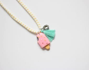 Pink Sprinkle Popsicle Necklace