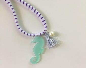 Seaglass Colored Seahorse Necklace