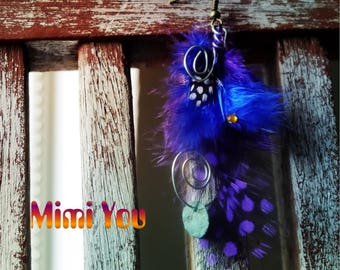 Original Design [Mimi You] Feather Earrings / Blue and Purple