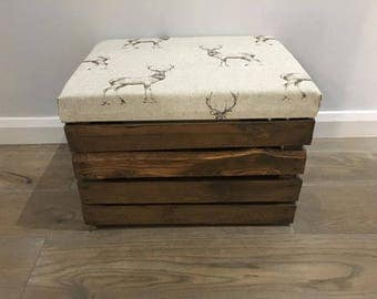 Rustic Wooden Apple Crate with padded lid - Stag/Deer Fabric - Ottoman/Footstool/Storage
