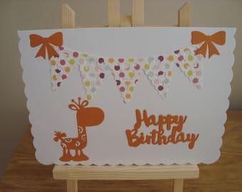 Handmade child's birthday card, Giraffe birthday card, Die-Cut cards