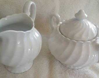 Johnson Brothers Snow White Regency Swirl Covered Sugar Bowl and Creamer