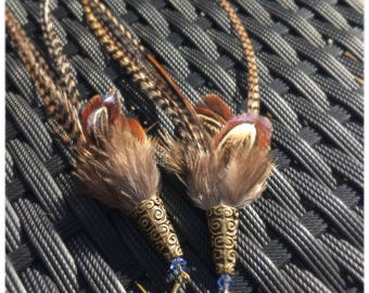 Long Grizzly Feather earrings, boho earrings,