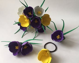 Craftfoam Crocus bouquet and hair accessories