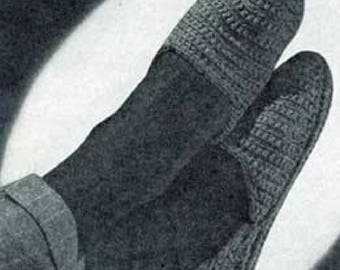 Men's Slippers Patterns No. 4710 , Womens Slippers, Crochet Pattern, Vintage Pattern, Retro