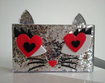 Glittered kitty acrylic clutch