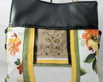 Elegant Cat Face Personalized Upcycled Embroidered Handbag