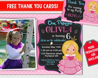 Princess invitation + Thank you cards Little princess birthday invitation Girl birthday outfit Princess party invite Princess Party supplies