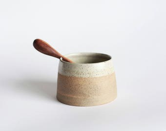 Ceramic White Speckled Salt | Sugar Bowl with hand carved wooden spoon