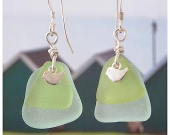 Aqua and yellow sea glass earrings