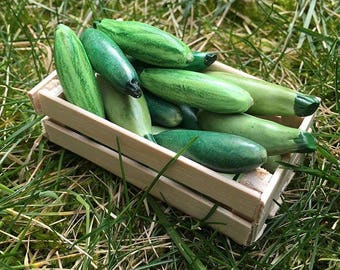 Long squash miniature for a farm setting or a fairy/gnome garden