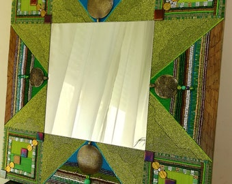Mirror large format mosaic of beads Green