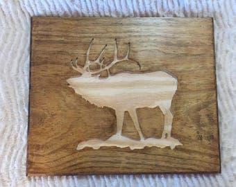 Elk Inlay Wall Carving