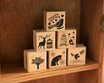 Vintage Wooden Rubber Stamps - Diary Stamp Set - Cat, Bird, Dove, Tree, Deer