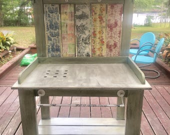 Custom Potting Table Bench Unique Design Shabby Chic French Rustic Planting Toile Country Farmhouse look