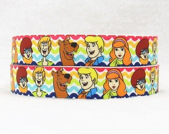 "SCOOBY DOO 22MM 7/8"" Grosgrain Ribbon Craft Bow Decoration Metre Yard Cartoon RB3"